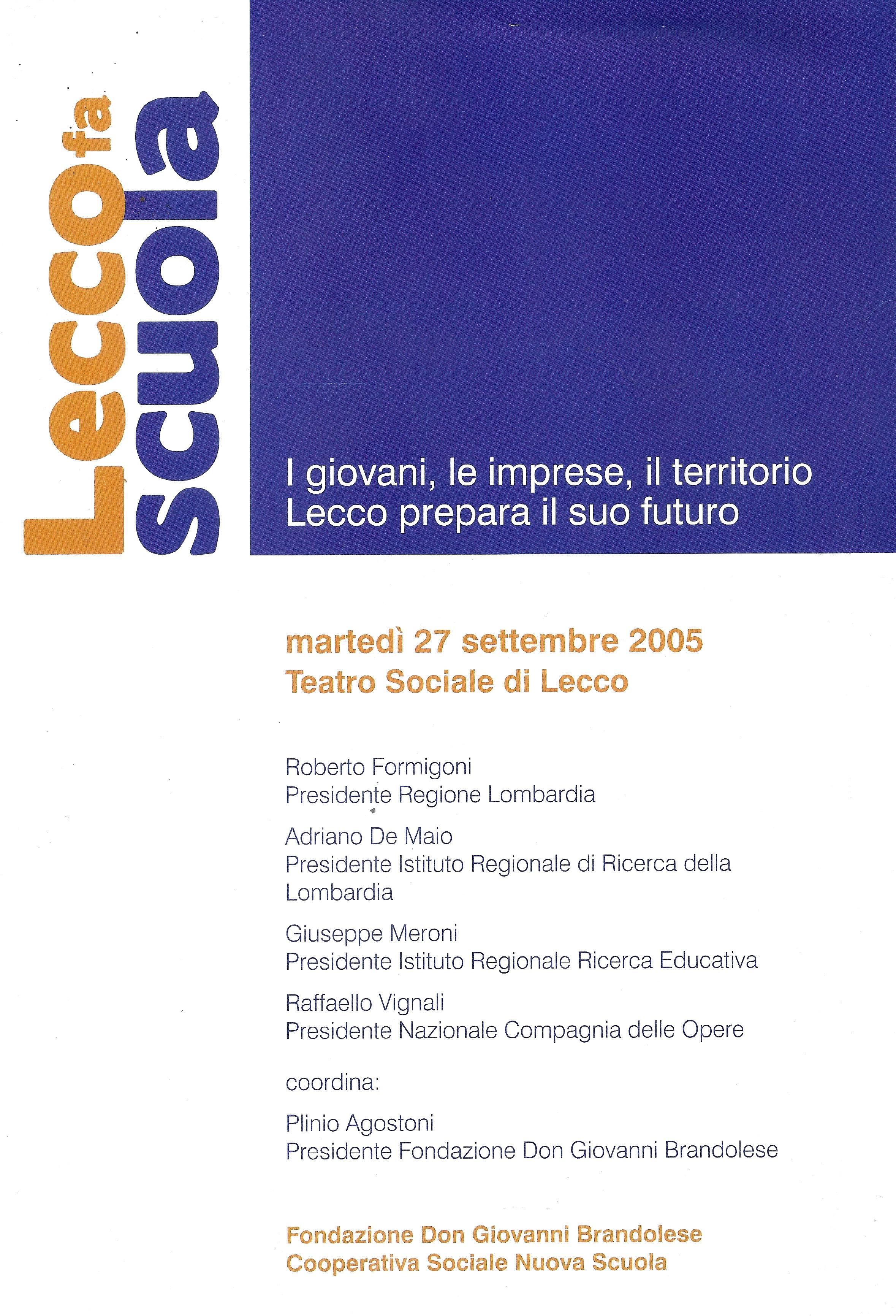 27/09/2005 – Convegno LECCO FA SCUOLA – MANIFESTO sull'educazione