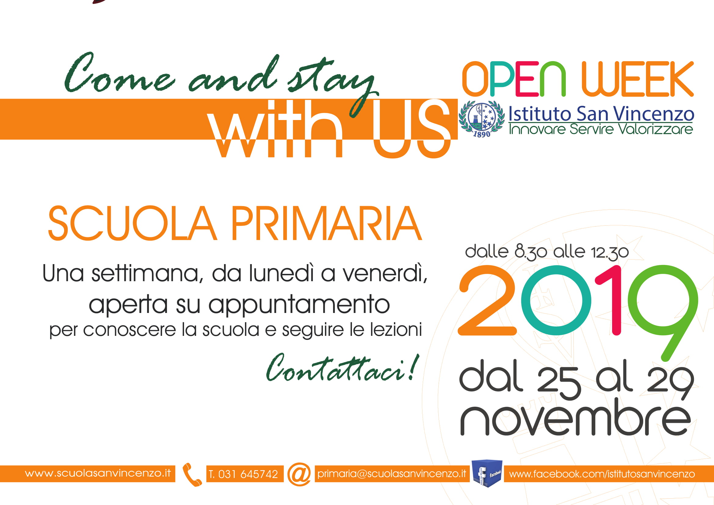 "Dal 25/11 al 29/11/2019 – Open Week ""Istituto San Vincenzo"""