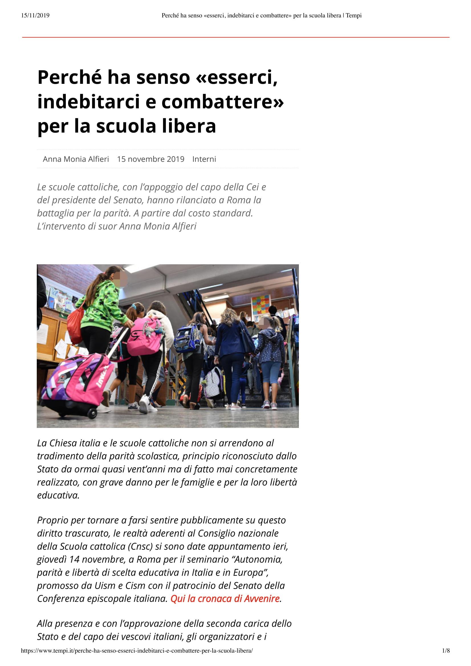 """15/11/2019 – Tempi.it – Perché ha senso """"esserci, indebitarci e combattere"""" per la scuola libera"""