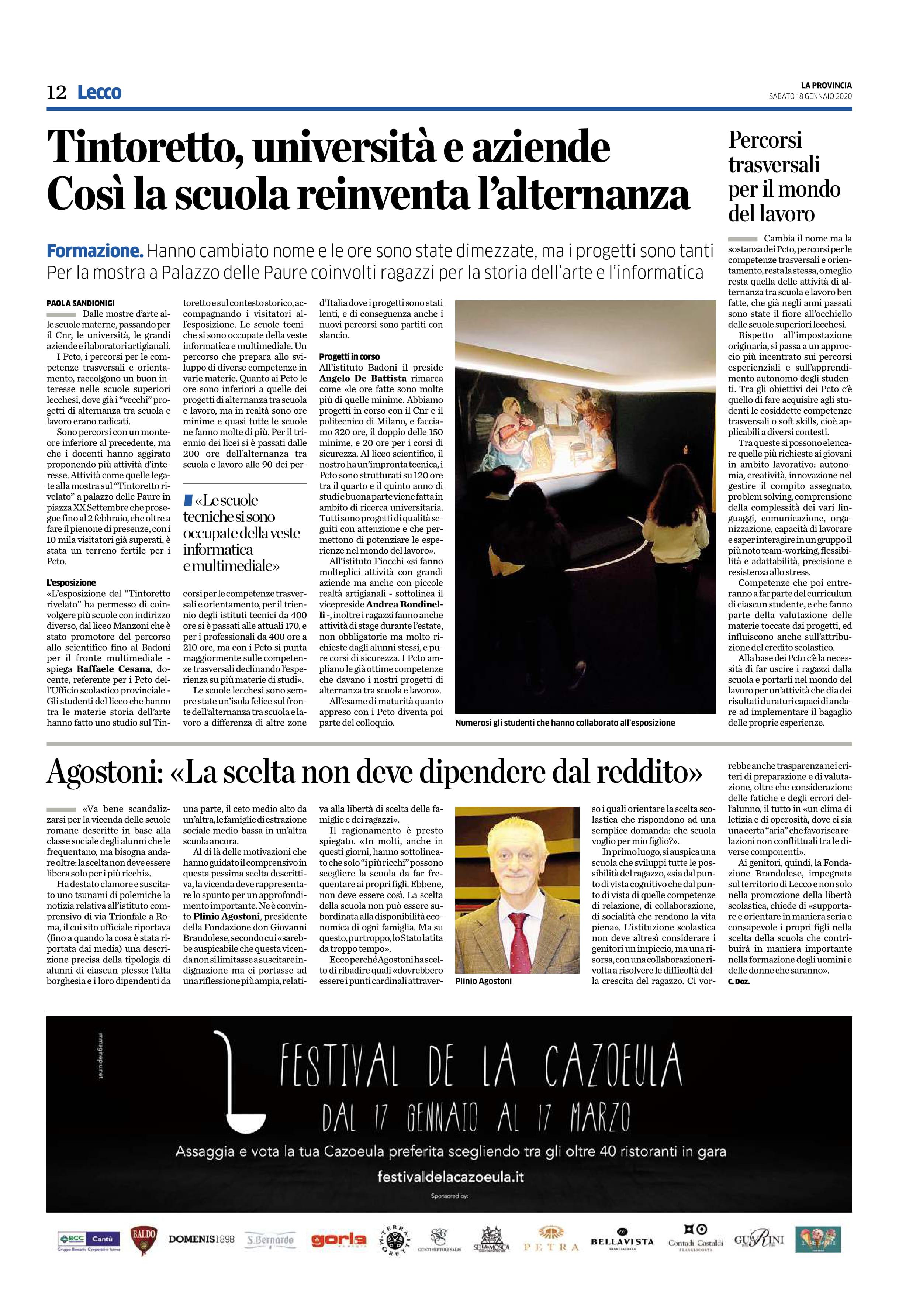 18/01/2020 – Tintoretto, università e aziende, così la scuola reinventa l'alternanza