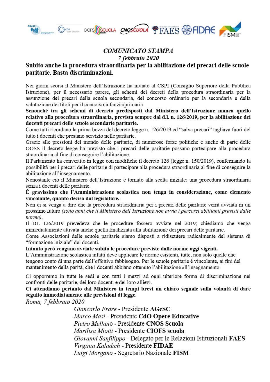 07/02/2020 – Comunicato stampa