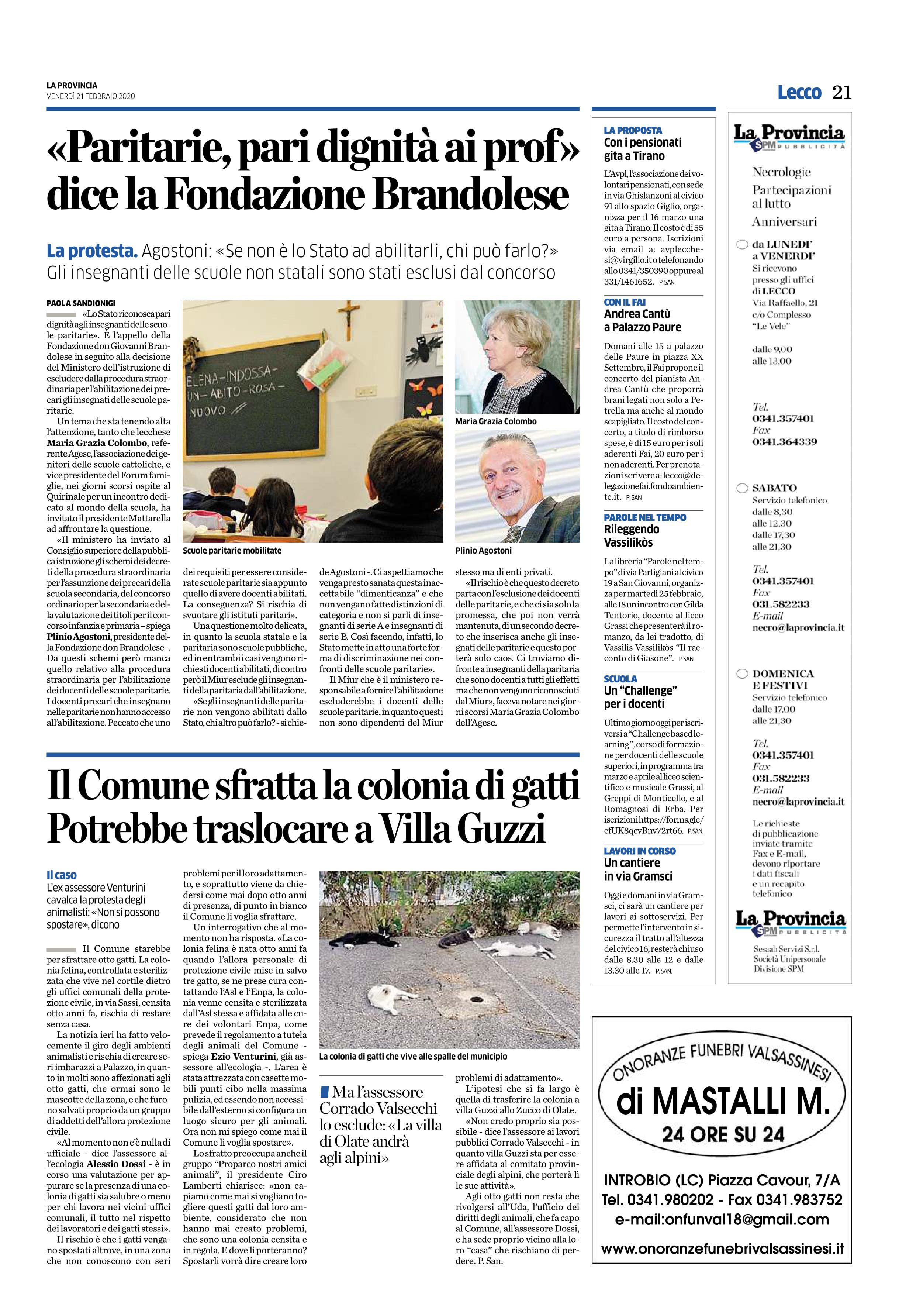 """21/02/2020 – La provincia – """"Paritarie, pari dignità ai prof"""" dice la Fondazione Brandolese"""