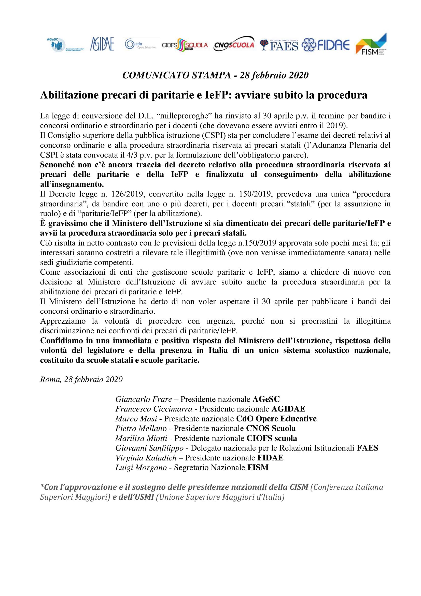 28/02/2020 – Abilitazione precari di paritarie e IeFP: avviare subito la procedura